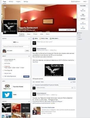 La page Facebook du restaurant Garuda