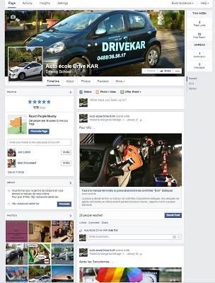 La page Facebook de l'auto-école DriveKar
